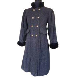 Vintage Rothschild Gray Wool Dress coat faux fur